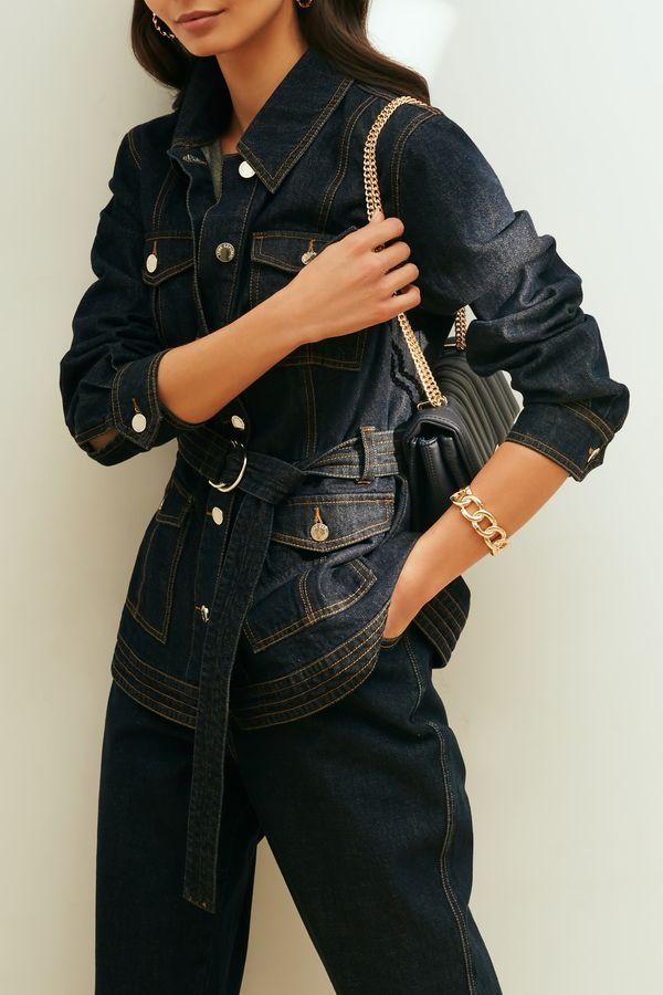 Джинсовая куртка с накладными карманами 1153435617-104