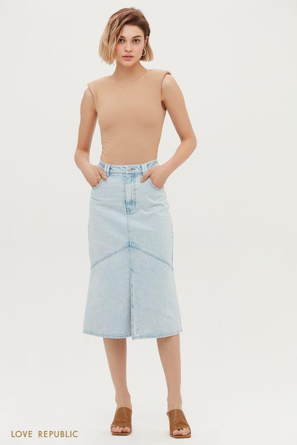 Прямая джинсовая юбка миди 1153436209-101