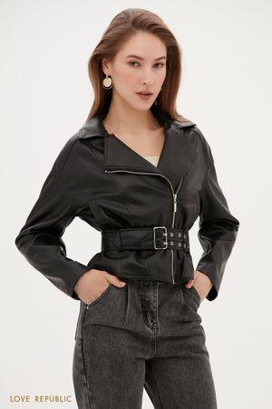 Объемная куртка-косуха с ремнем на талии