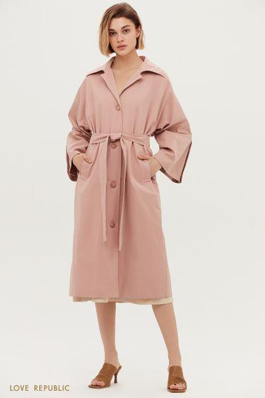 Розовый плащ-оверсайз с широкими лацканами 1153506107