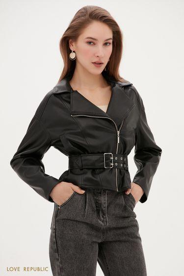 Объемная куртка-косуха с ремнем на талии 1153516116