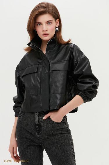 Стильная кожаная куртка черного цвета с клапанами 1153517117