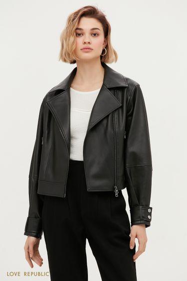 Трендовая куртка-косуха с широкими лацканами 1153518118