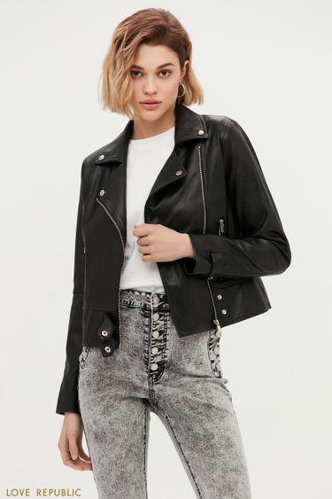 Чёрная куртка-косуха с заклёпками 1153520120