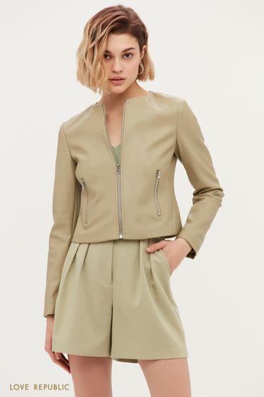 Кожаная куртка приталенного кроя цвета хаки 1153532115