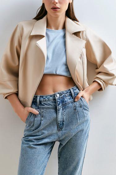 Трендовая куртка-косуха кремового оттенка 1153533118