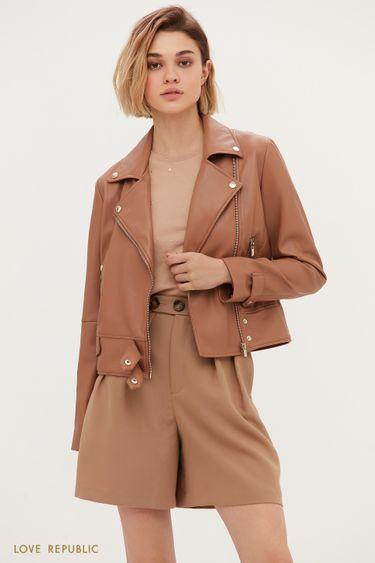Куртка-косуха на заклёпках коричневого цвета 1153535120