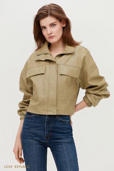 Стильная кожаная куртка оттенка хаки с клапанами 1153539117