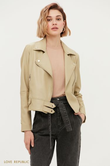 Куртка-косуха на заклёпках цвета хаки 1153545120
