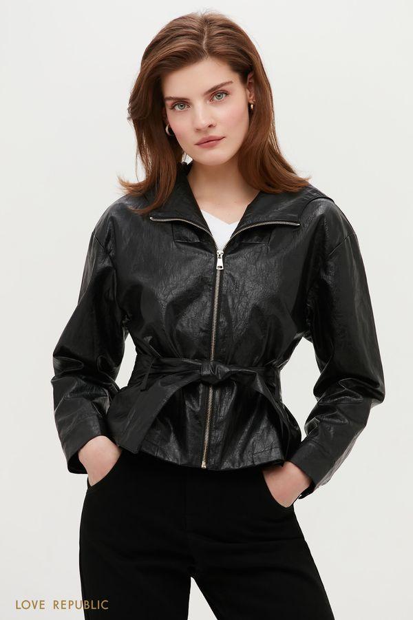 Куртка из фактурной экокожи с поясом 1153505106-50