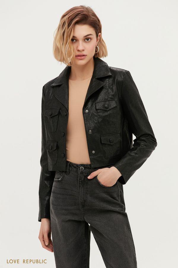 Укороченная куртка-косуха из фактурной экокожи 1153513113-50