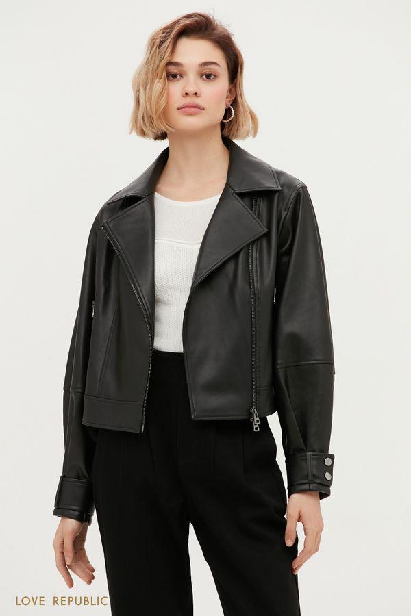 Трендовая куртка-косуха с широкими лацканами 1153518118-50