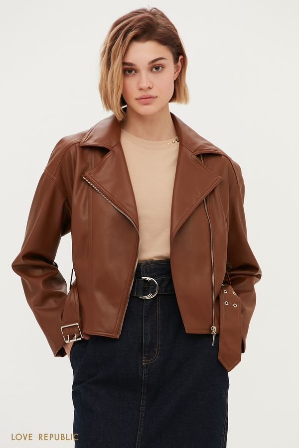 Коричневая куртка-косуха 1153521116-62