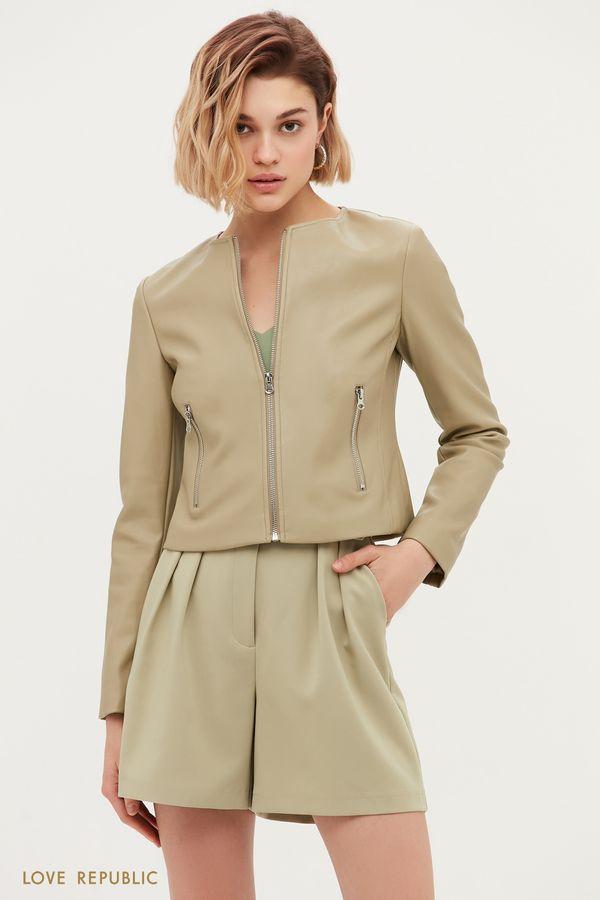 Кожаная куртка приталенного кроя цвета хаки 1153532115-13