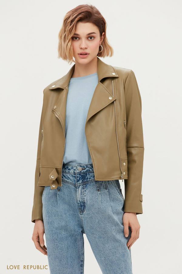 Куртка-косуха на заклёпках оливкового оттенка 1153534120-13