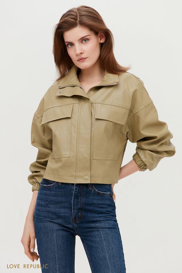 Стильная кожаная куртка оттенка хаки с клапанами 1153539117-13