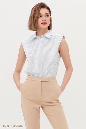 Хлопковая блузка с подплечниками