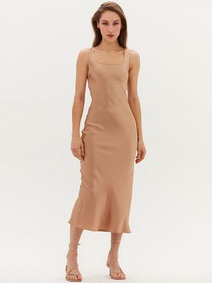 Атласное платье миди
