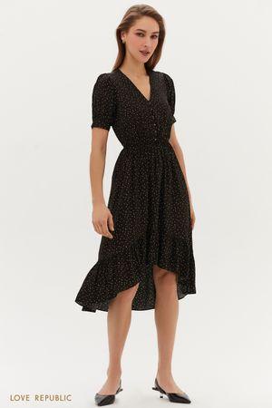 Жаккардовое платье с декоративными пуговицами