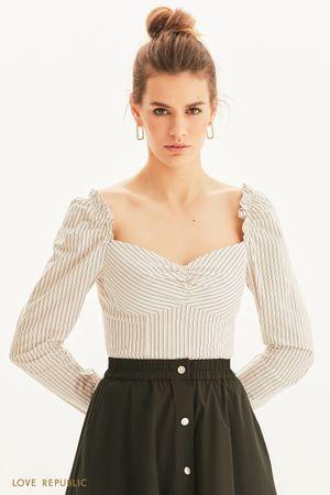 Женственная блузка с длинным рукавом