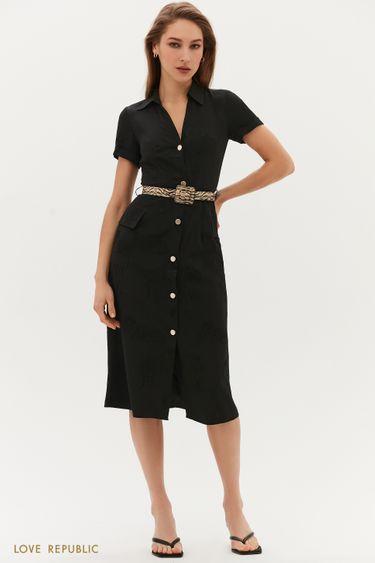 Жаккардовое платье с поясом 1254002502