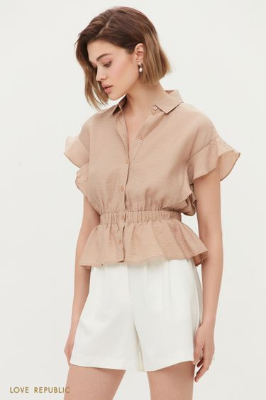 Блузка с воланами из жатого материала 1254015310