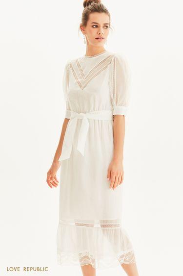 Винтажное платье с кружевными вставками 1254030529