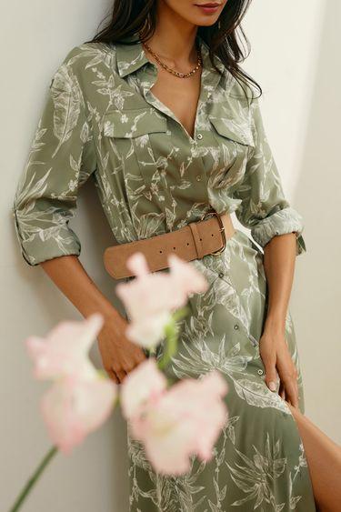 Оливковое платье-миди с ремнём 1254051570