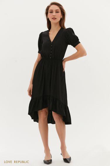 Жаккардовое платье с декоративными пуговицами 1254054571