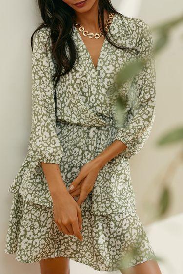 Платье-мини с оборками на подоле и флористическим принтом 1254058572