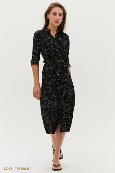 Платье миди с ремнём и накладными карманами 1254071570