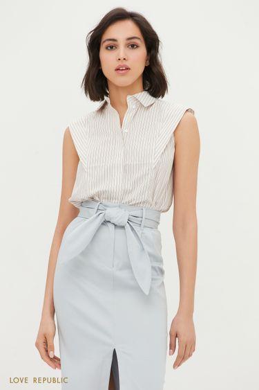 Хлопковая блузка с подплечниками 1254075314