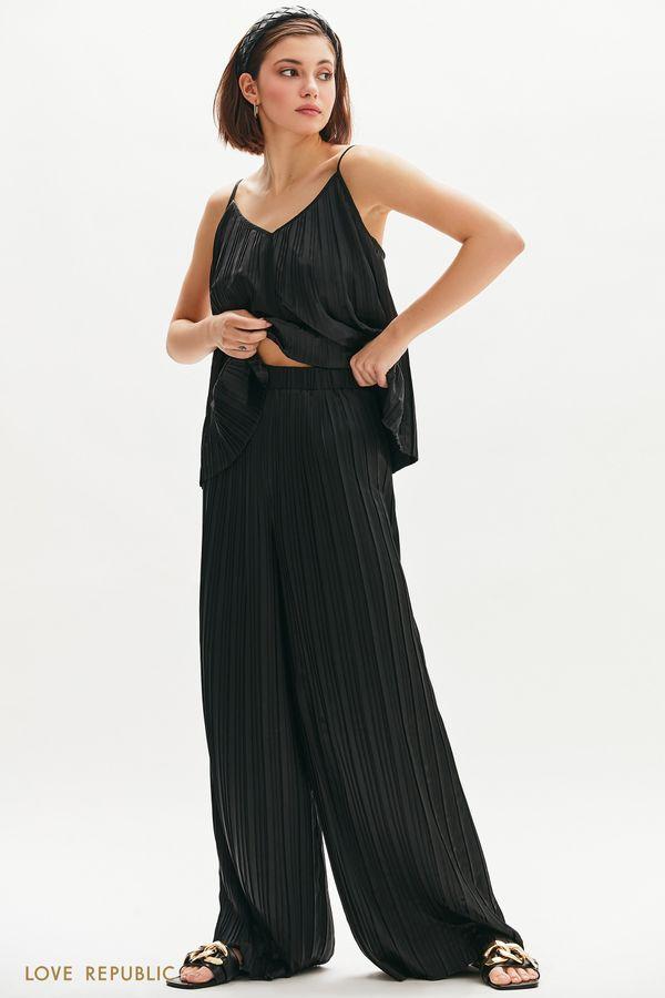 Атласные брюки из плиссированной ткани 1254001704-50