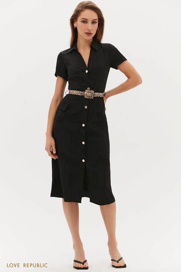 Жаккардовое платье с поясом 1254002502-50
