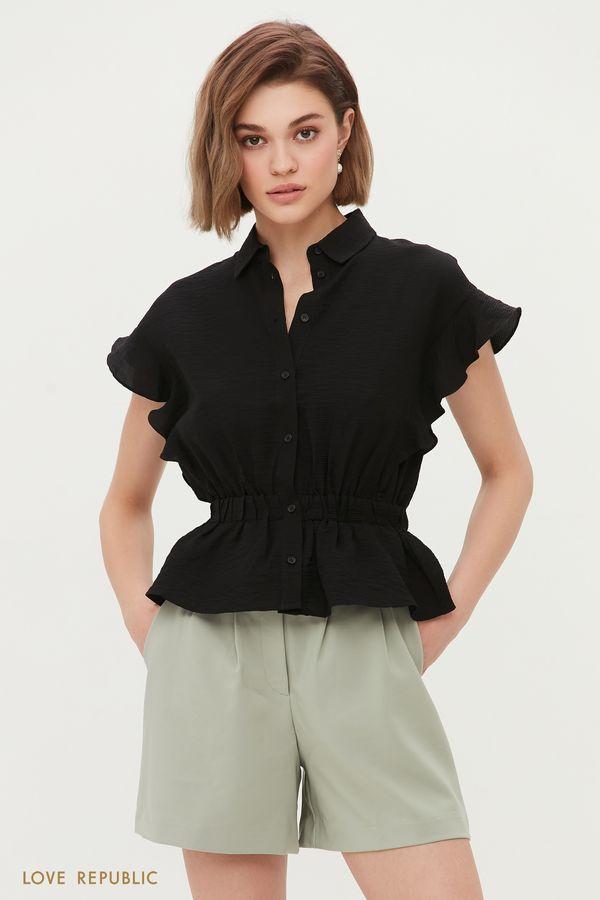 Блузка с воланами из жатого материала 1254015310-50