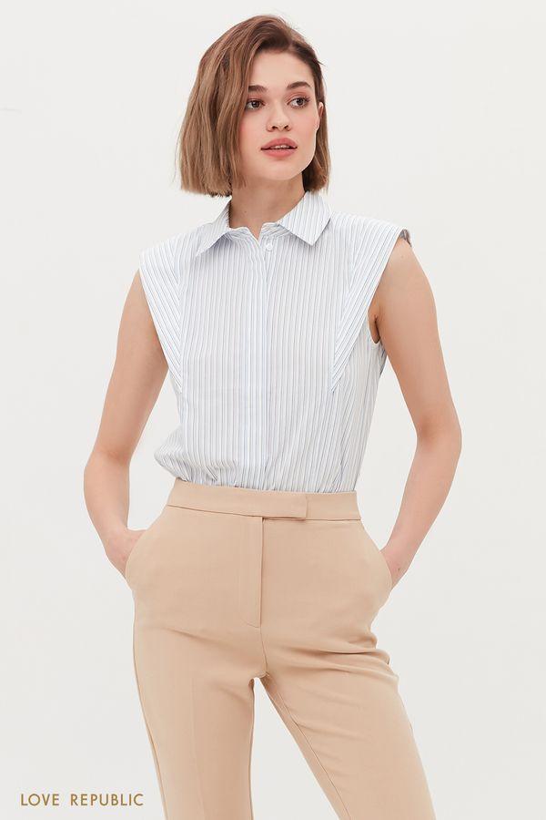 Хлопковая блузка с подплечниками 1254019314-42