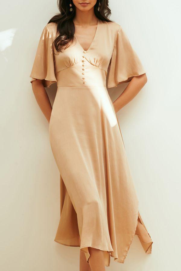 Атласное платье с асимметричным подолом 1254022525-62