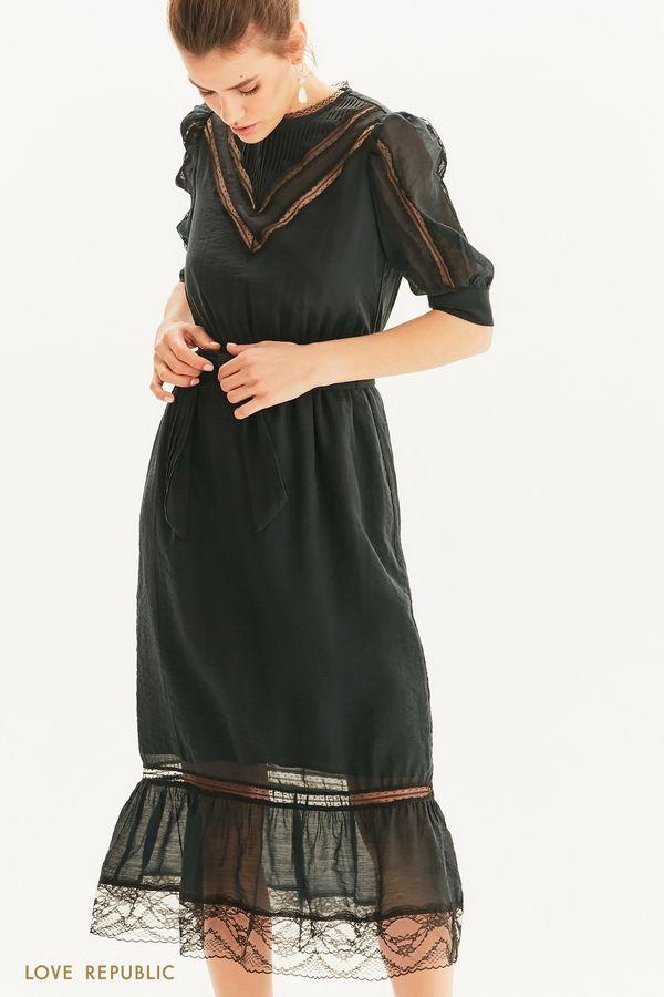 Винтажное платье с кружевными вставками 1254030529-1