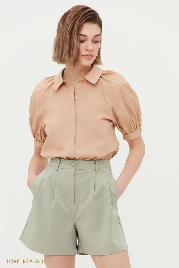 Хлопковая рубашка с объемными рукавами 1254036390-1
