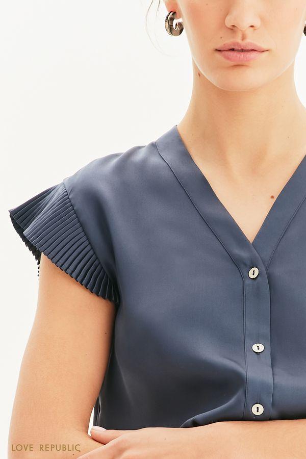 Блузка свободного кроя с плиссировкой 1254037328-60
