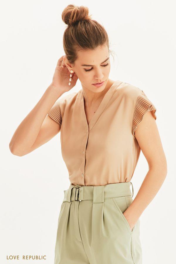 Блузка свободного кроя с плиссировкой 1254037328-62
