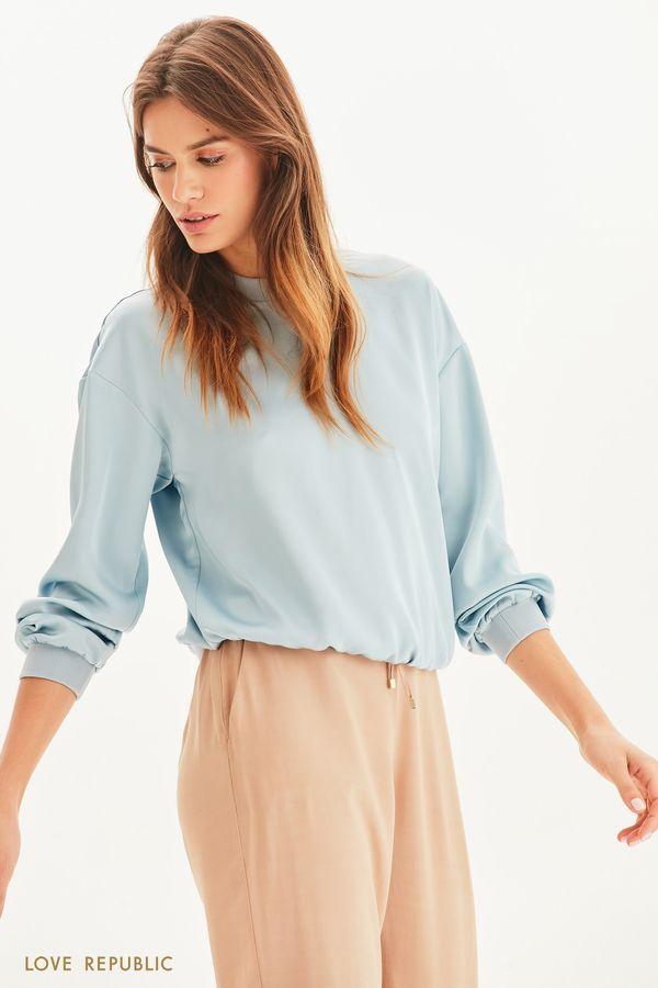 Атласная блузка в спортивном стиле 1254048367-41