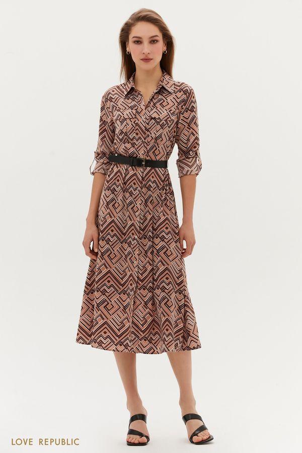 Платье миди с ремнём 1254052570-26
