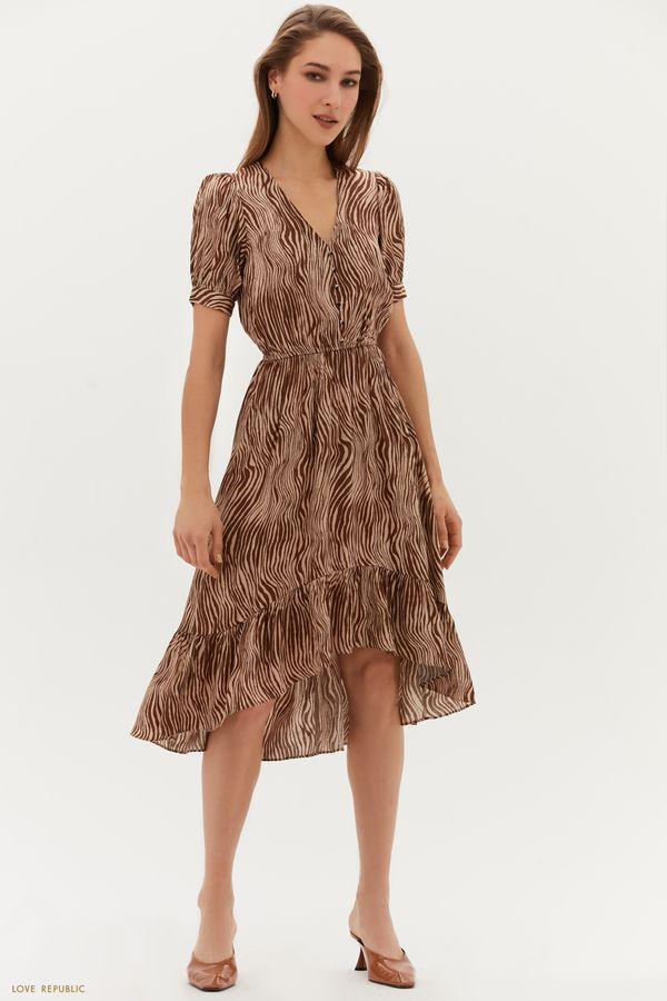 Жаккардовое платье с декоративными пуговицами 1254054571-53