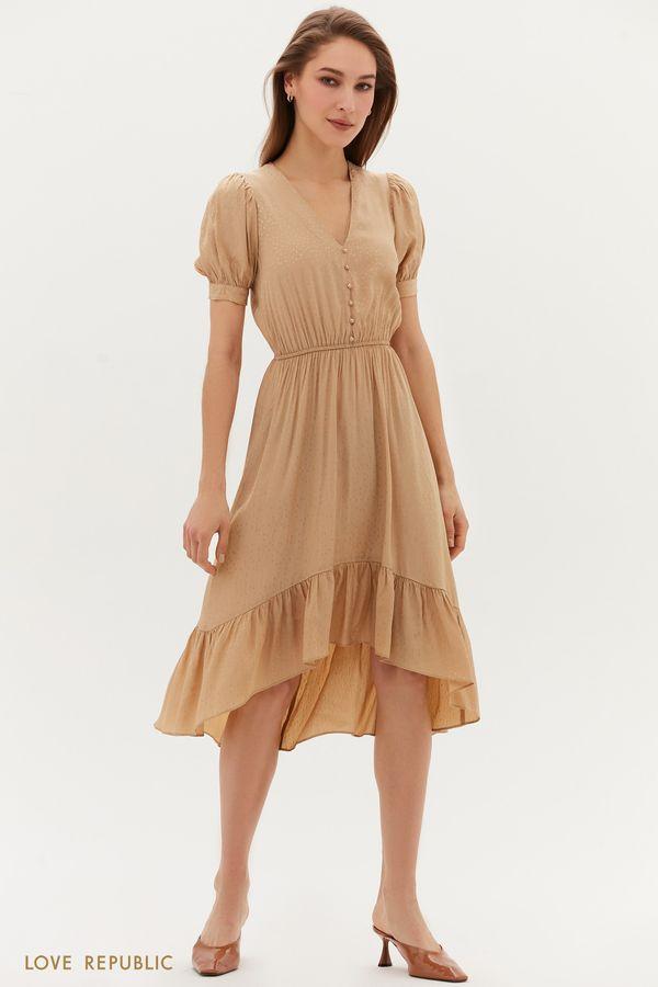 Жаккардовое платье с декоративными пуговицами 1254054571-26