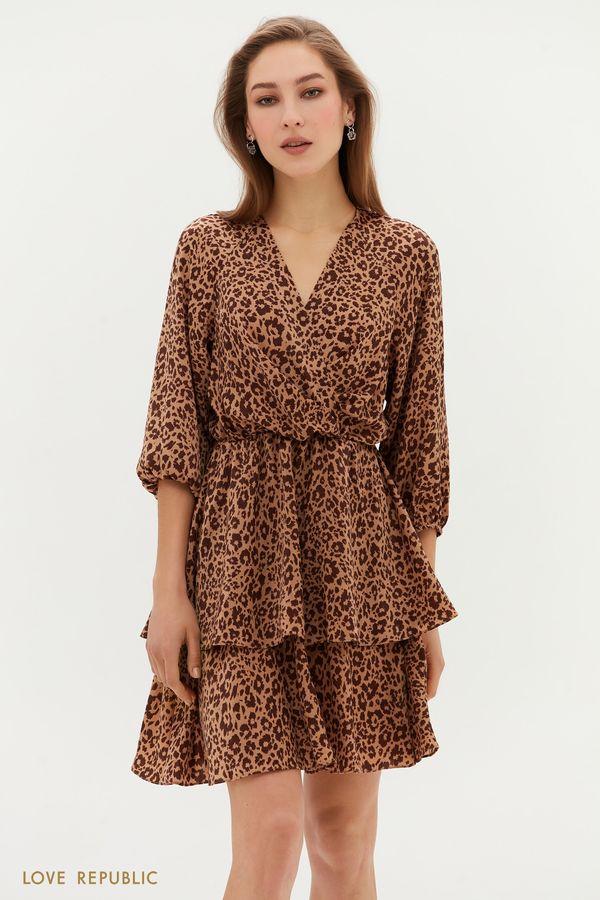 Платье мини с оборками на подоле 1254056572-65