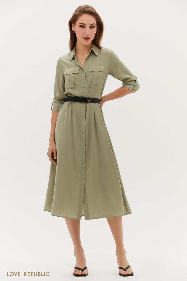 Платье миди с ремнём и накладными карманами 1254071570-13