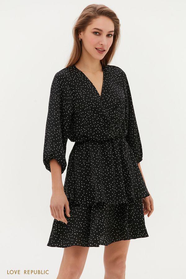 Платье с оборками на подоле и принтом в горошек 1254072572-53