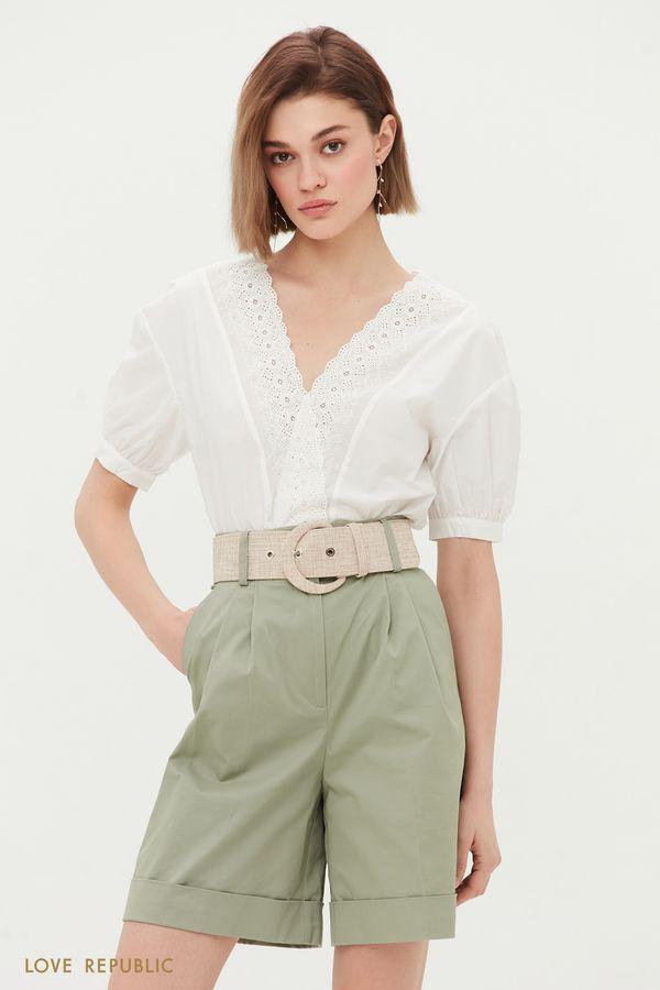 Хлопковая блузка с вышивкой ришелье 1254079392-1