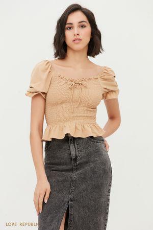 Блузка с вафельной резинкой